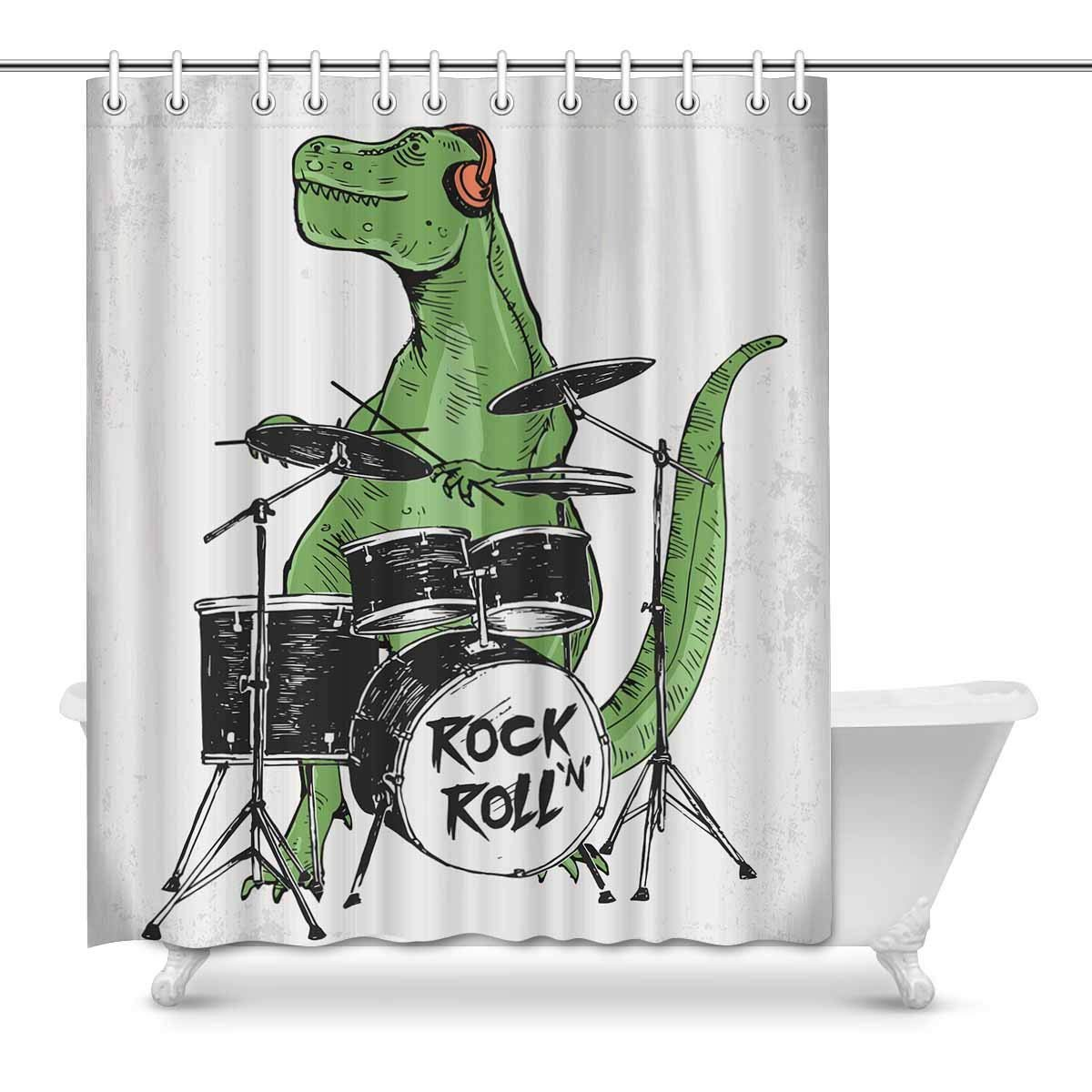 Gckg Rock Star Dinosaur Shower Curtain