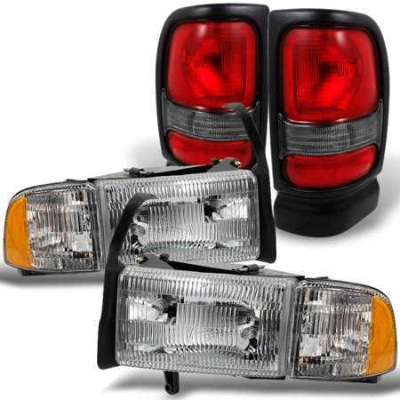 Fit 94-02 Dodge Ram Headlightss + Red Clear Tail Lights Combo