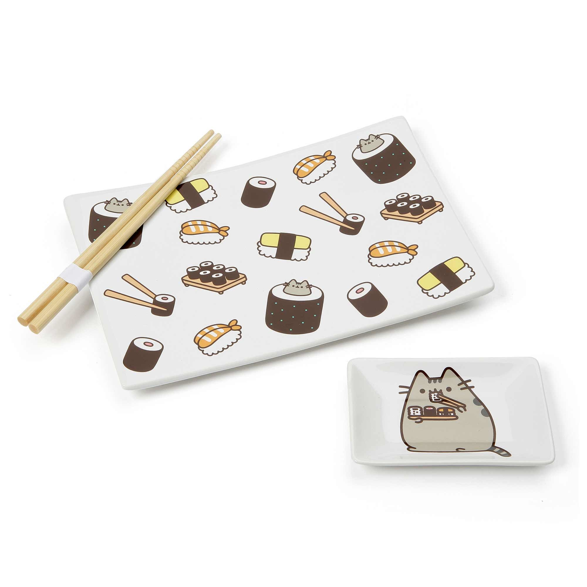 Enesco Pusheen by Our Name is Mud Stoneware Sushi Tray and Soy Dish with Chopsticks, 3 Pieces, White