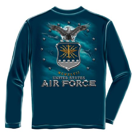 Air Force USAF Missile Long Sleeve T-Shirt by Erazor Bits, Navy