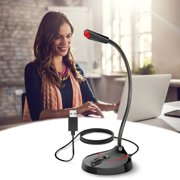 Condenser Microphone with Mute Button, TSV USB Computer Microphone, 360° Rotatable Gaming Chatting Microphone for PC Laptop Microphone Mic Fit for MacBook Dell HP ThinkPad