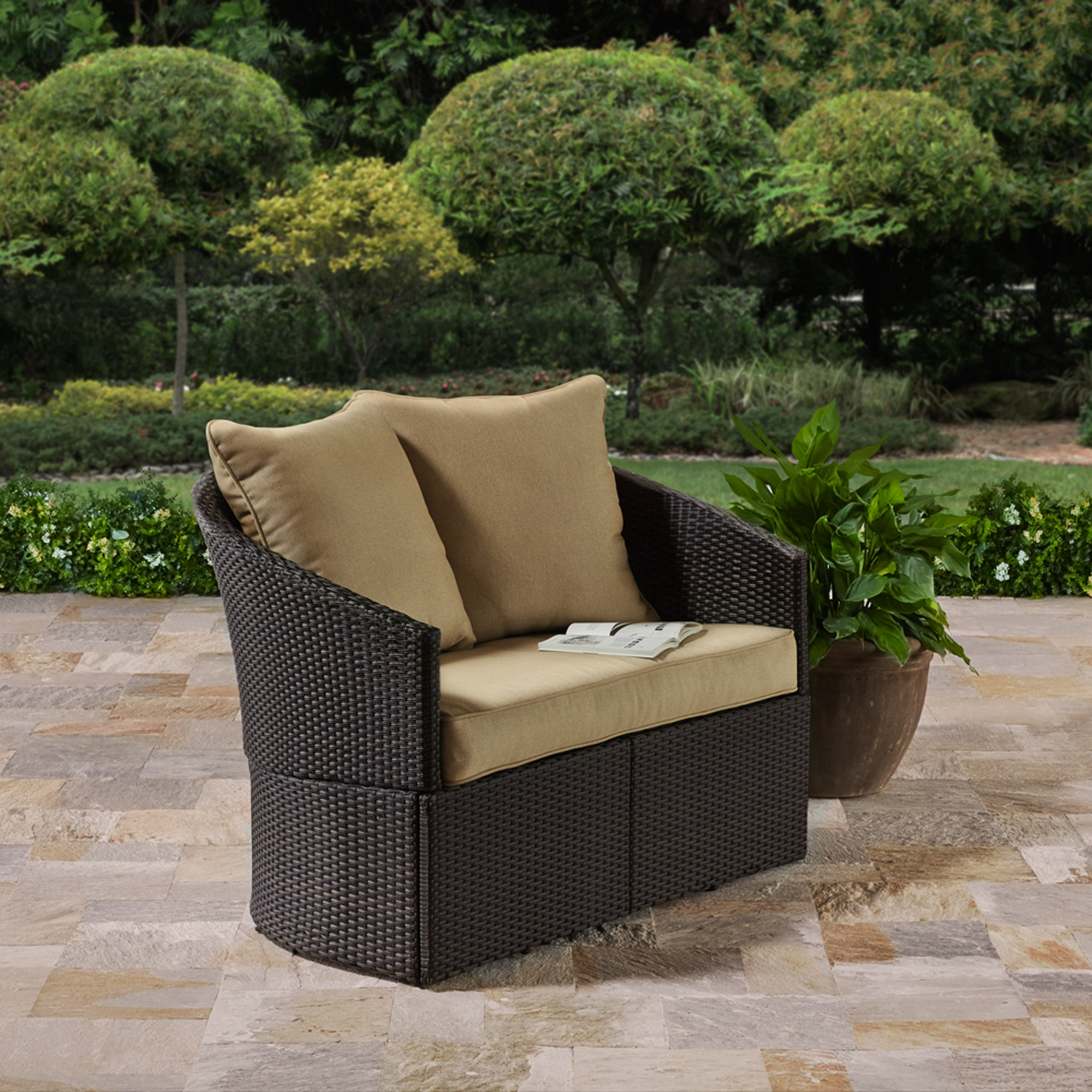 Better Homes and Gardens Cascade Falls Curved Loveseat, Brown