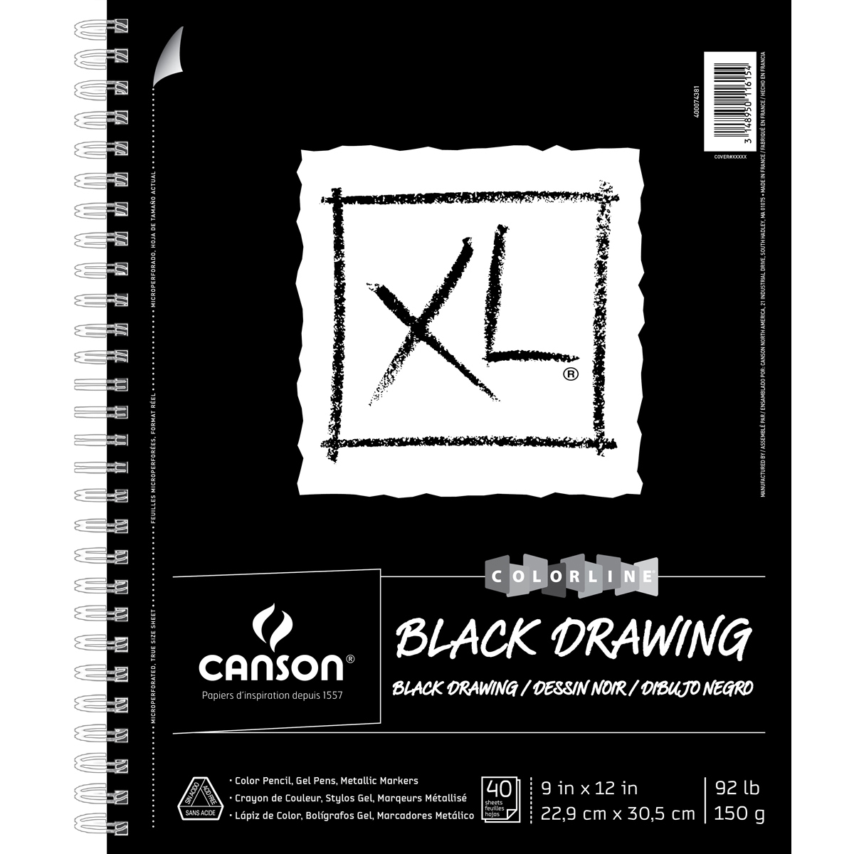 "Canson Xl Recycled Spiral Drawing Paper Pad 9""X12""-Black 40 Sheets"