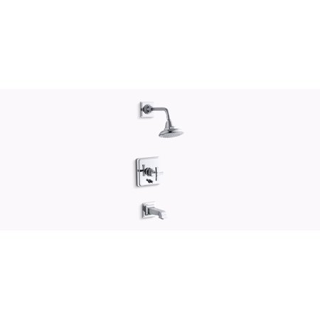 KH K-T13133-3A Pinstripe 1-Handle Tub and Shower Faucet Trim Only in Polished Chrome (Valve Not -