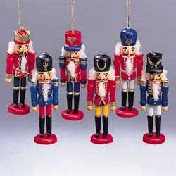 set of 6 colorful wooden soldier nutcracker christmas ornaments 45 - Christmas Decorations Wooden Soldiers
