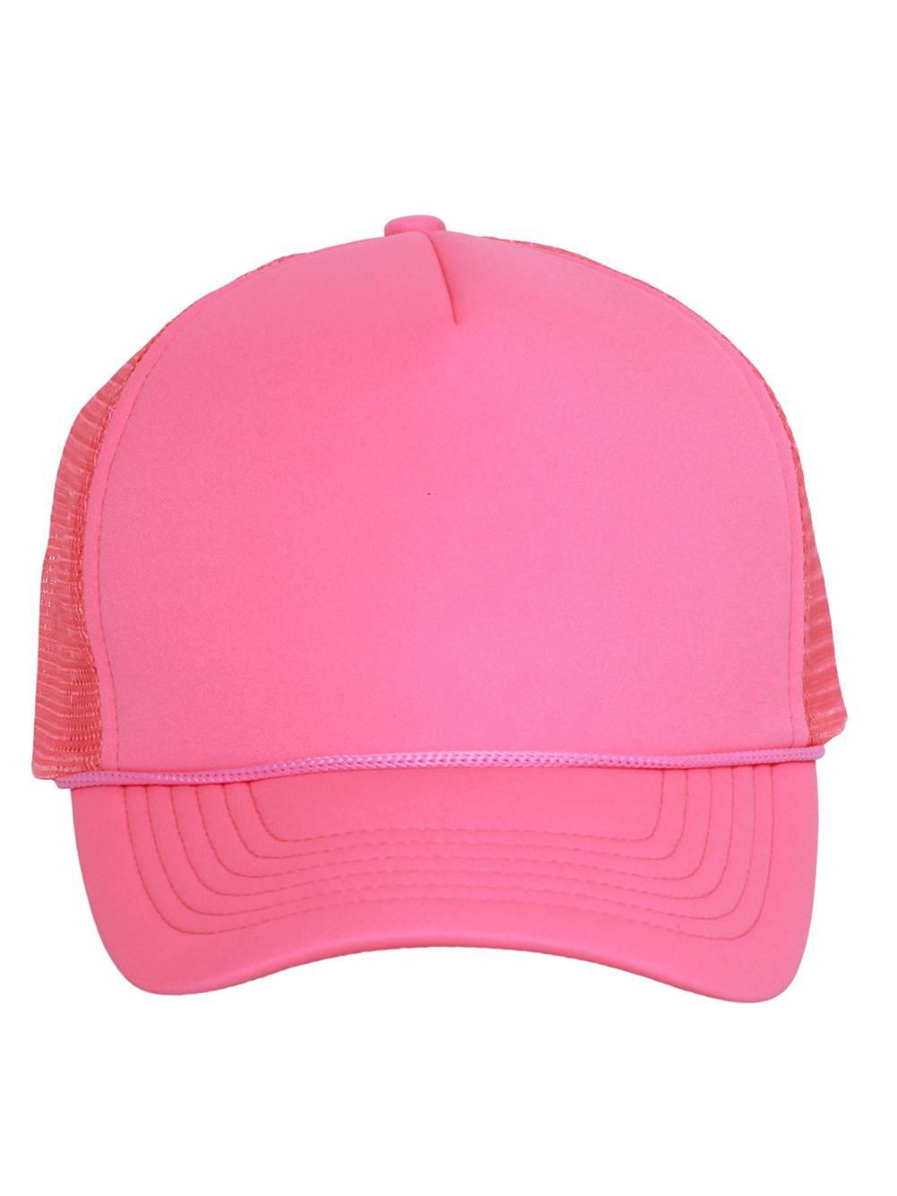 Light Neon Pink Ribbon Trucker Mesh Snapback Hat ce82f92d0f5