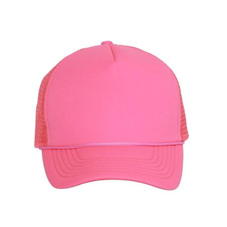 Light Neon Pink Ribbon Trucker Mesh Snapback Hat](Neon Hats)