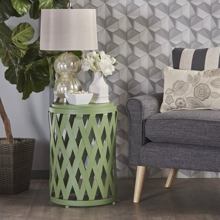 Noble House Bonnie Indoor 14 Inch Diameter Lattice Iron Side Table, Matte Green