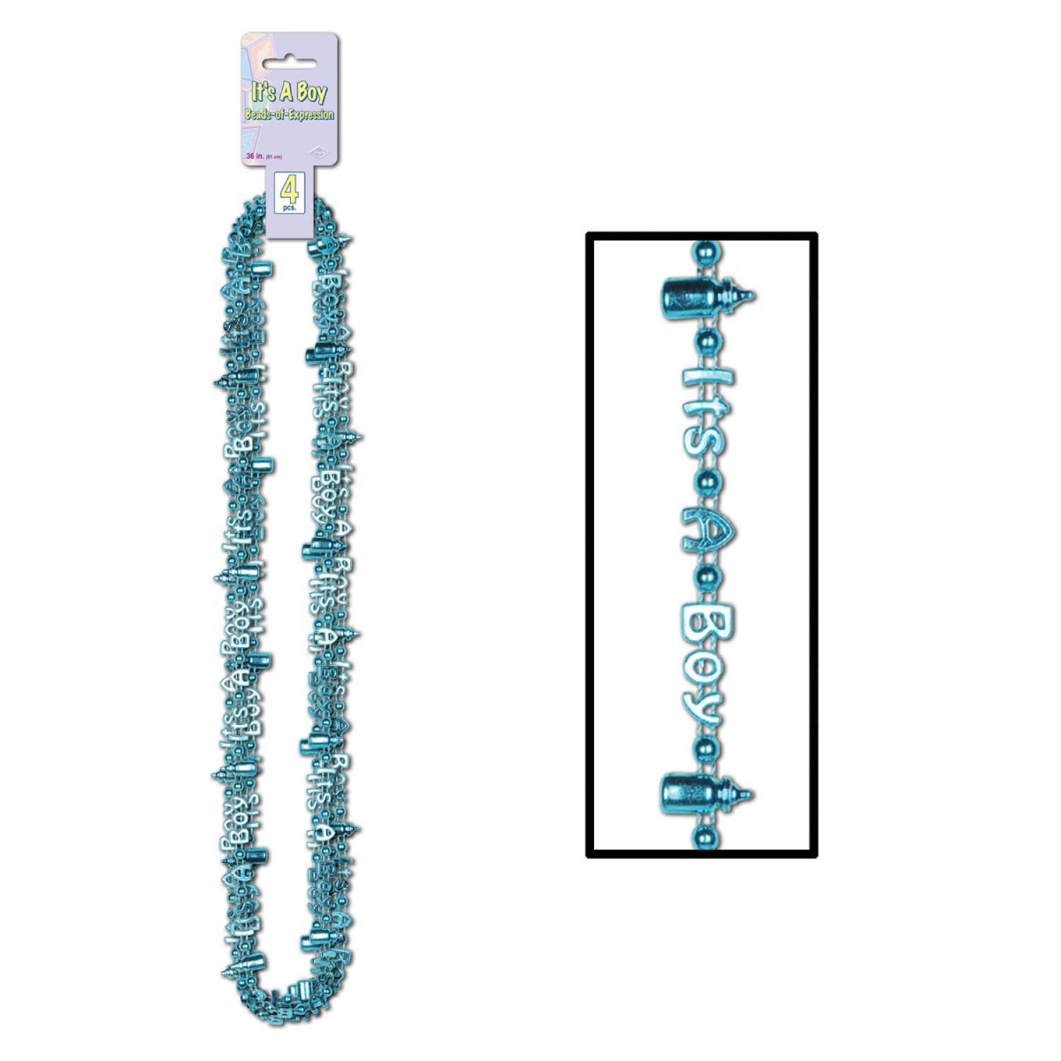 """Club Pack of 48 Metallic Pastel Blue """"It's A Boy"""" Baby Shower Necklaces 36"""""""