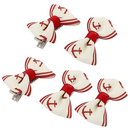 Pet Dog Boat Shaped Pattern Hair Grooming Hairpin Headdress Clip 5 Pcs Red