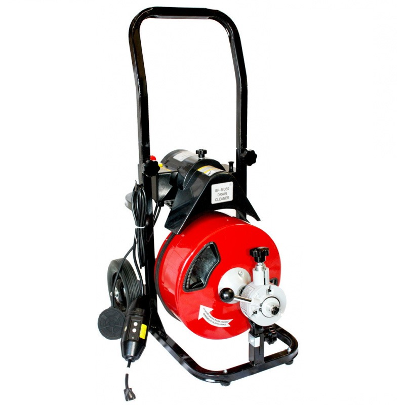 "50' 1/2"" 250W Electric Sewer Snake Drain Auger Cleaner with Four Cutter Kits"