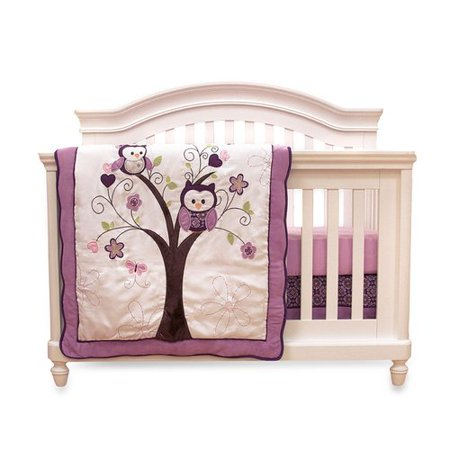 Baby S First By Nemcor Plum Owl 4 Piece Crib Bedding Set