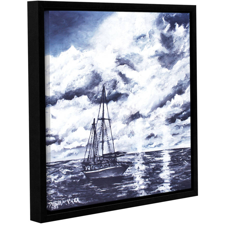 "ArtWall Derek Mccrea ""Sailboat Oil Painting"" Gallery-wrapped Floater-framed Canvas"