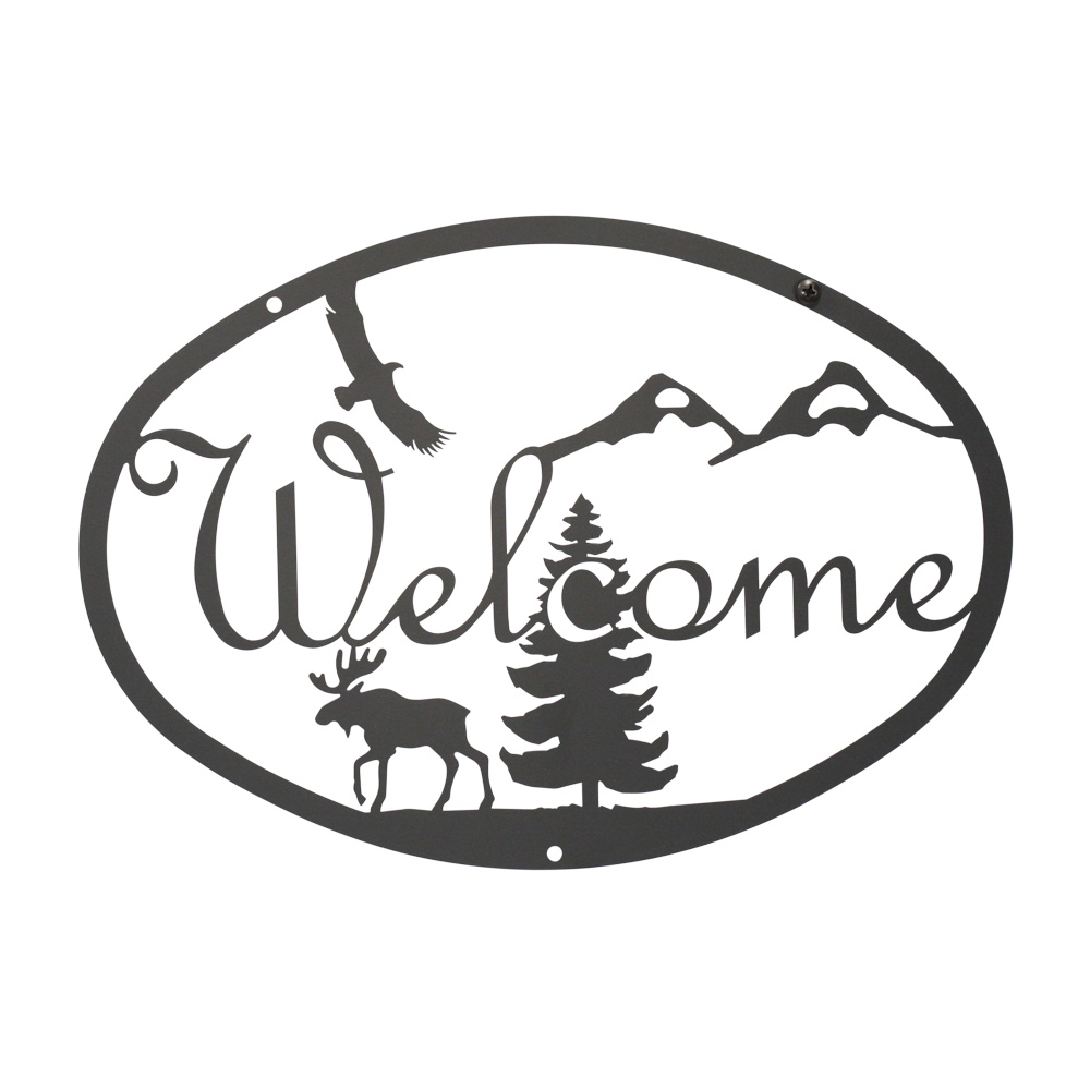 Village Wrought Iron WEL-1-L Rooster - Welcome Sign Large