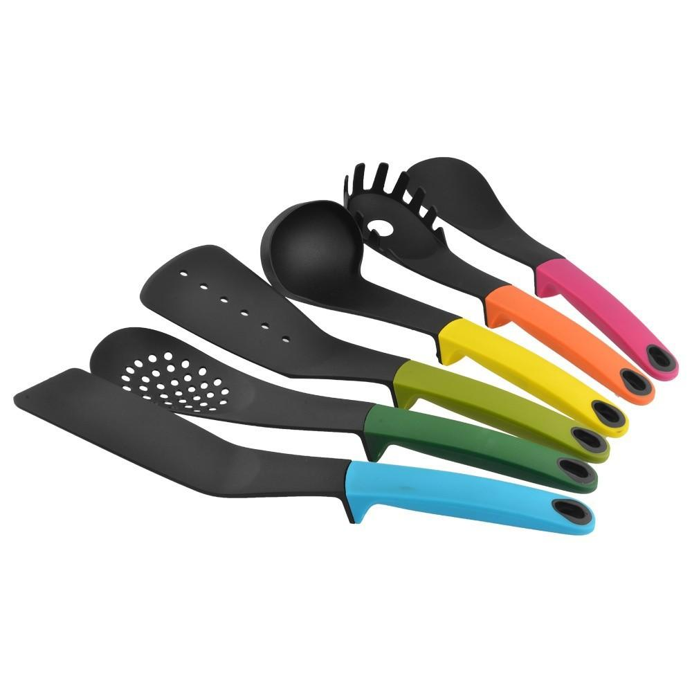 6 Pc set Nylon Heat-Resistant Nonstick Spoon Spatula Turner Scoop Kitchen Cooking Utensil Tools Set With Stand