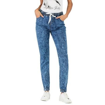 Plus Size Women Drawstring Elastic Waist Casual Stretch Denim Pants boyfriend Jeans Trousers Ladies Slim Fit Joggers Jeggings