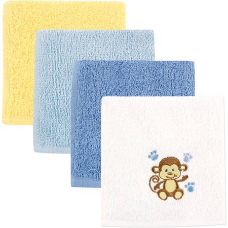 Luvable Friends Baby Woven Terry Washcloths, Blue Monkey, 4 Pack