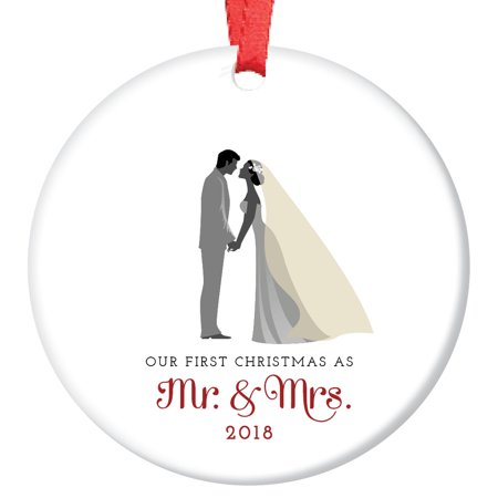 Bride & Groom Ornament, First Christmas as Mr & Mrs 2018, 1st Married Christmas Porcelain Ornament, 3