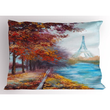 - Art Pillow Sham Eiffel Tower View from Seine River in Autumn Romantic Paris Day in Fall Cityscape Print, Decorative Standard King Size Printed Pillowcase, 36 X 20 Inches, Multicolor, by Ambesonne