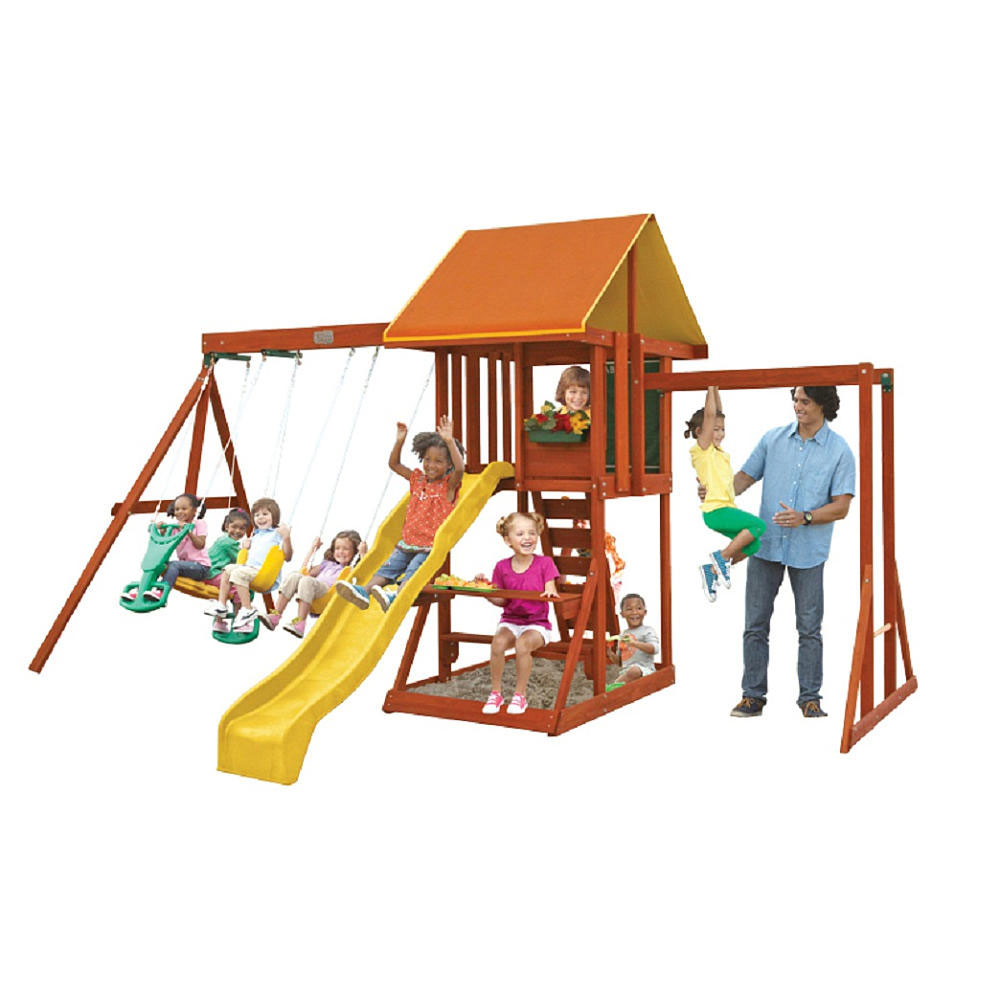 Big Backyard by KidKraft Cedarbrook Kids Outdoor Wooden Playhouse and Playset by KidKraft