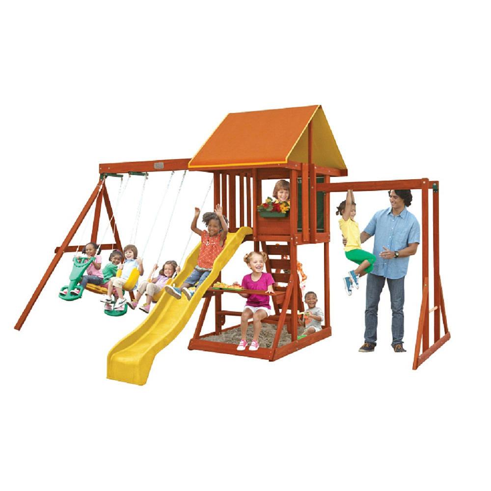 Big Backyard by KidKraft Cedarbrook Kids Outdoor Wooden Playhouse and Playset