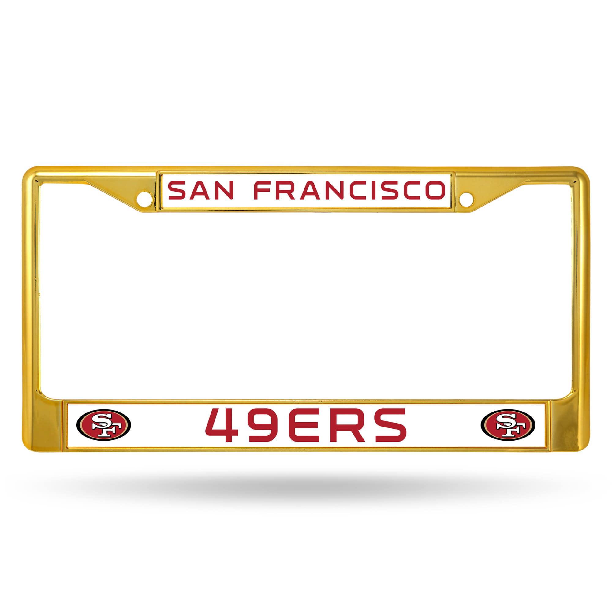 San Francisco 49ers NFL Licensed Gold Painted Chrome Metal License Plate Frame