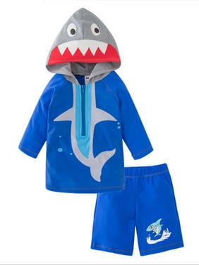 Styles I Love Toddler Kid Boy Shark Hooded Rash Guard and Shorts 2pcs Swimsuit Bathing Suit Beach Pool Water Game Swimwear (100/2-3 Years)