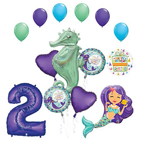 Mermaid Wishes and Seahorse 2nd Birthday Party Supplies Balloon Bouquet Decorations - Latex Mermaid