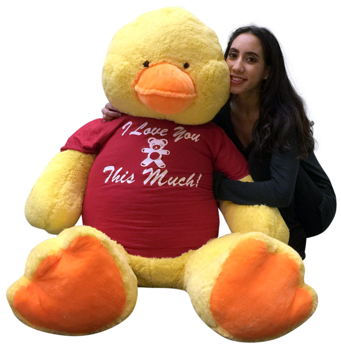 Giant Stuffed Duck 48 Inches Soft 4 Foot Big Plush I Love You This
