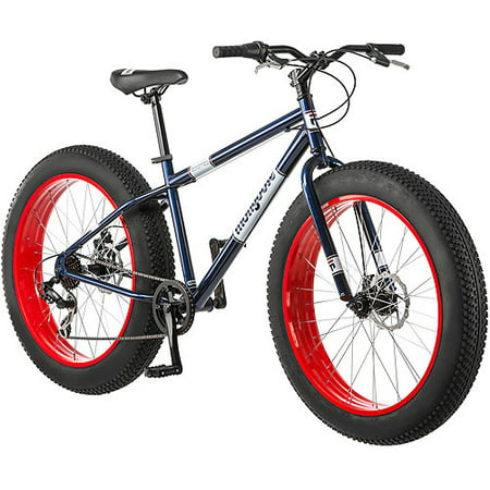 26  Mongoose Dolomite Mens 7 Speed All Terrain Fat Tire Mountain Bike  Navy Blue Red