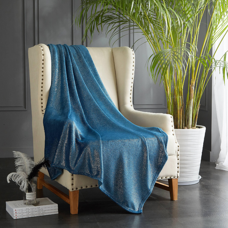 Mainstays Royal Plush Glitter Throw Blanket, Grey