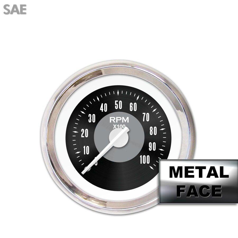 Tachometer Gauge - American Classic Black II, White Modern Needles, Chrome socal