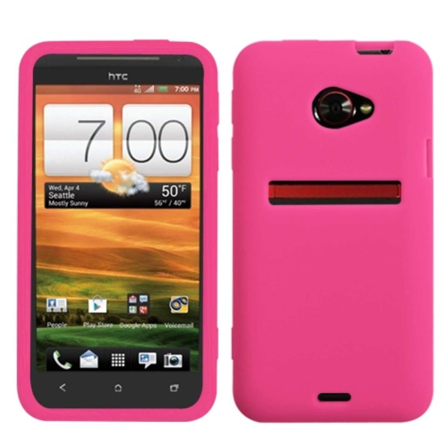 Insten Solid Skin Case (Hot Pink) for HTC: EVO 4G LTE