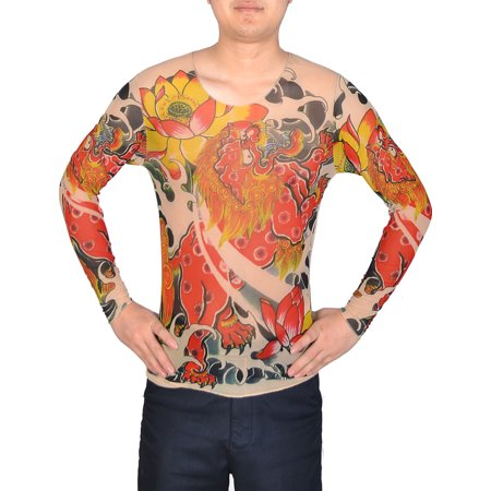 Unique Bargains Men Pullover Round Neck Meshy Design Tattoo T Shirt Khaki Red Size S