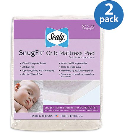 (2 Pack) Sealy SecureStay Waterproof Crib Mattress Pad (Totter Water)
