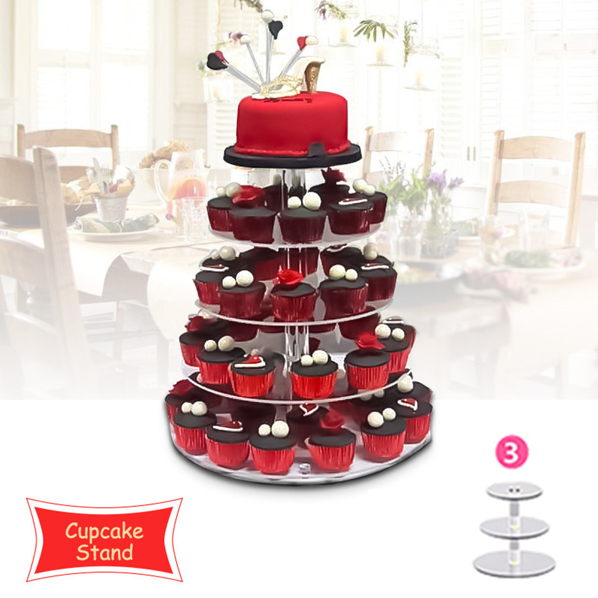 3 Tier Round Crystal Clear Acrylic Cupcake Tower Stand Wedding Display