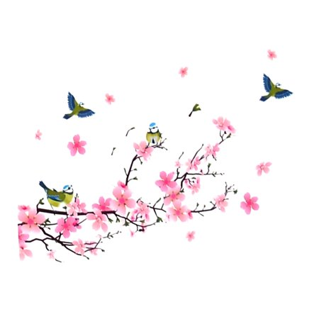 Cherry Blossom Pattern Removable Wall Sticker Decal 50 x 70cm for Home Decor (Blossom Wall Decal)