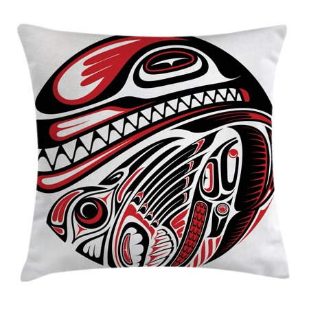 Tribal Decor Throw Pillow Cushion Cover, Haida Style Animal Art Wild Indian Eagle and Killer Dog with Sharp Teeth, Decorative Square Accent Pillow Case, 20 X 20 Inches, White Red Black, by Ambesonne
