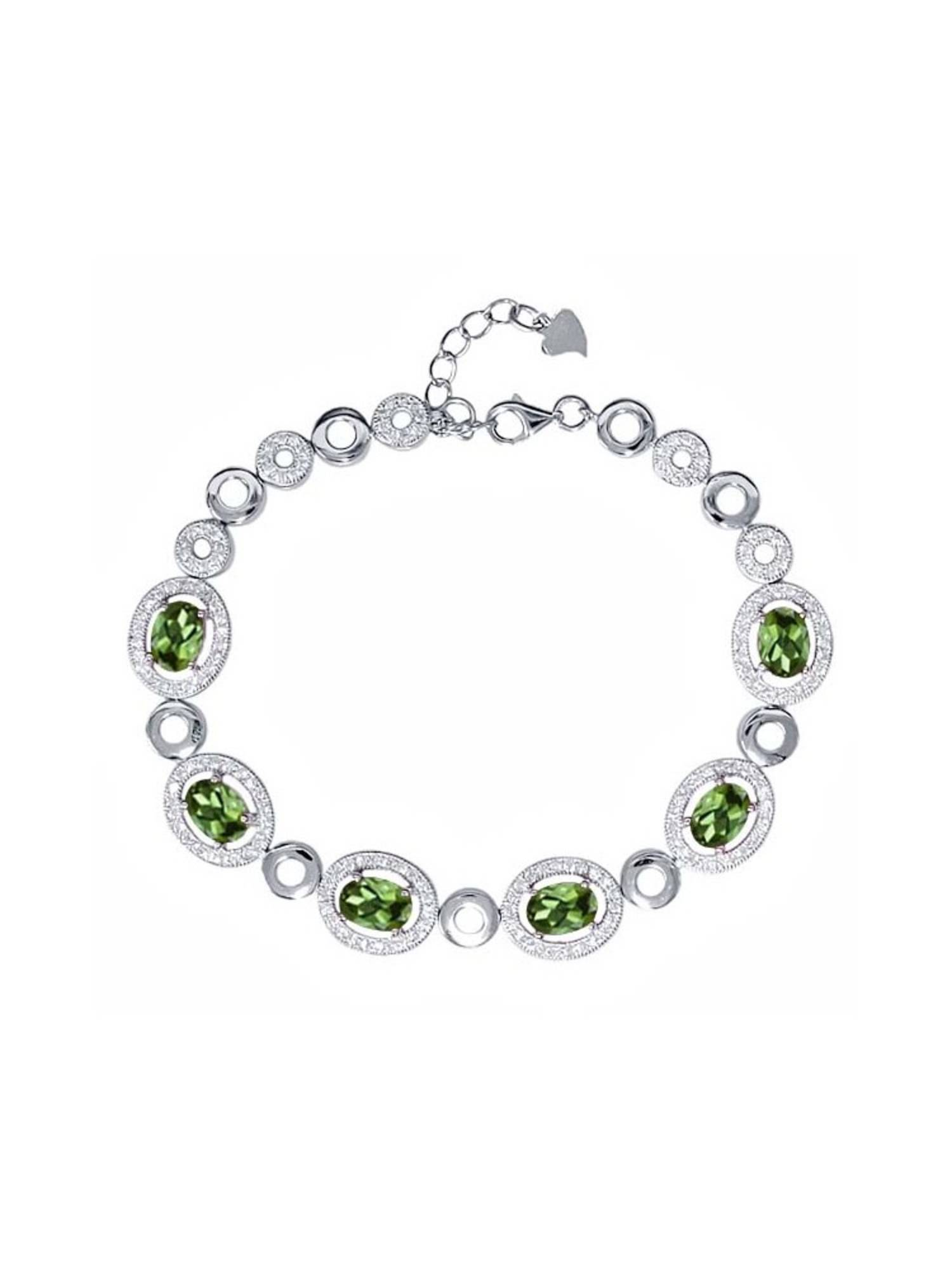 7.02 Ct Oval Green Tourmaline 925 Sterling Silver Bracelet by
