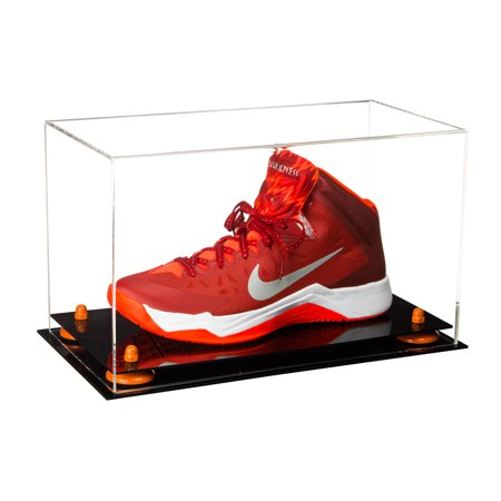 Deluxe Clear Acrylic Large Shoe Display Case for Basketball Shoes Soccer Cleats Football Cleats with Orange Risers (A013-OR)