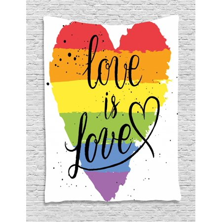 Pride Tapestry, LGBT Gay Lesbian Parade Love is Love Inspiring Hand Writing Paint Strokes Artistic, Wall Hanging for Bedroom Living Room Dorm Decor, Multicolor, by Ambesonne