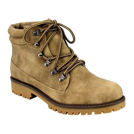 IB85 Women's Lace Up Padded Cuff Hiking Combat Ankle Booties