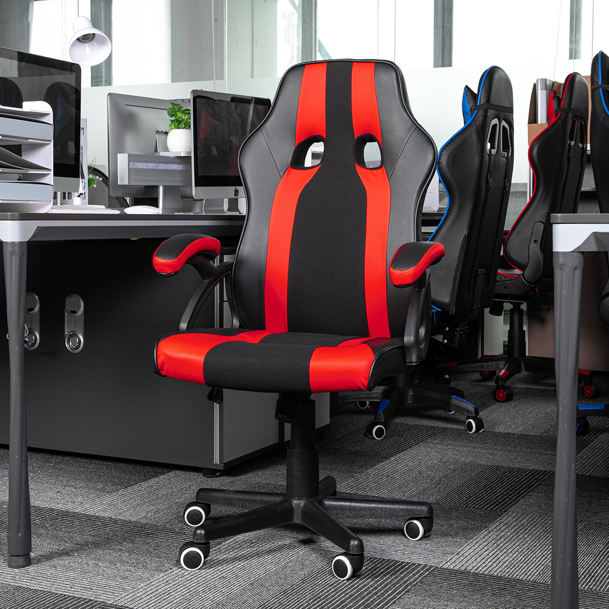 Details about  /Office Chair Desk Leather Gaming Chair High Back Ergonomic Adjustable Racing ...