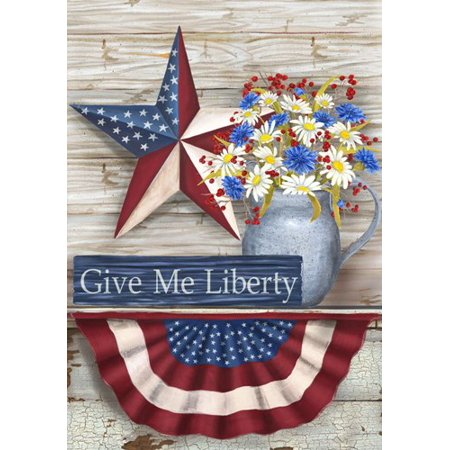 Patriotic Holiday Barn Star Give Me Liberty Country Crock Garden Flag ()