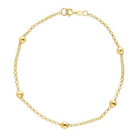 Beaded Shimmer Rolo Chain Bracelet in 10kt Gold