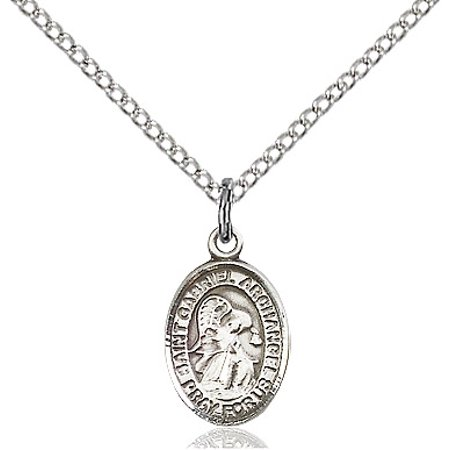 Sterling Silver St. Gabriel the Archangel Pendant 1/2 x 1/4 inches with Sterling Silver Lite Curb
