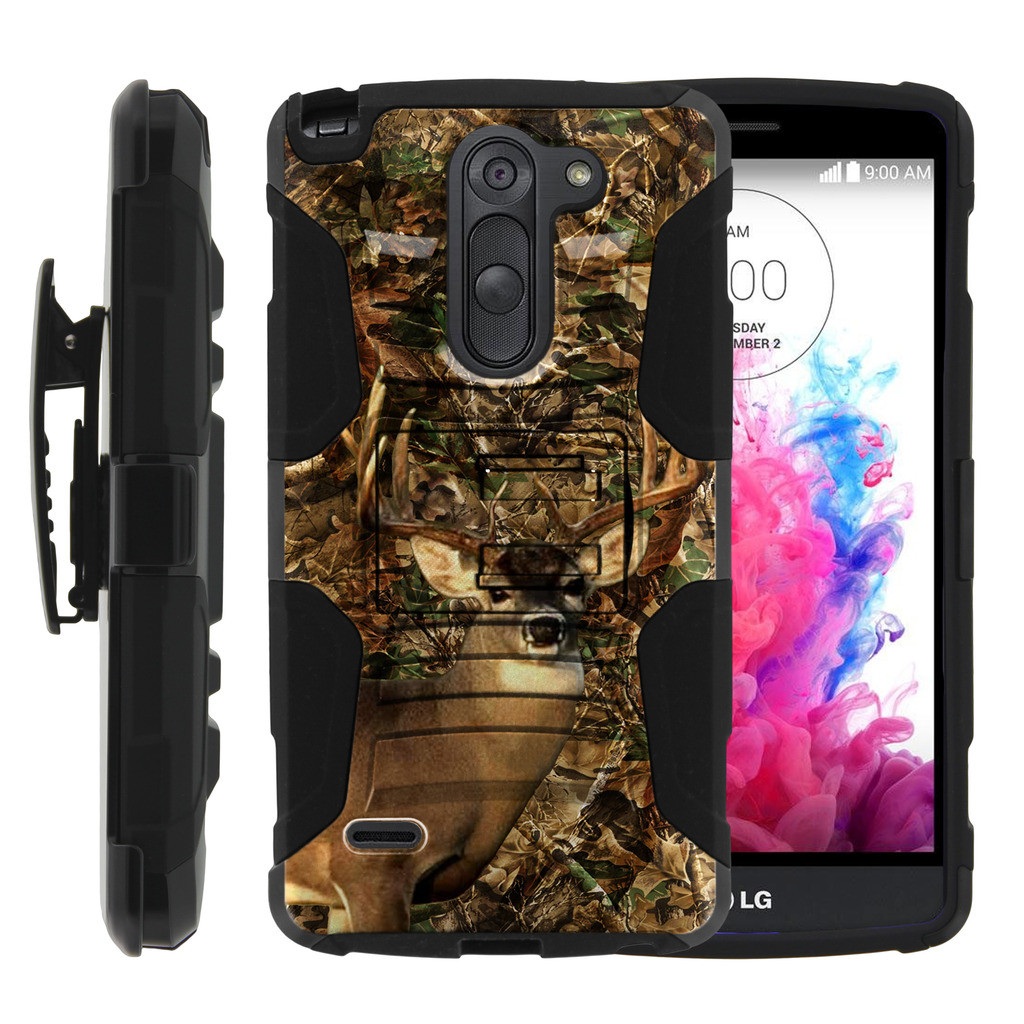 LG G3 Stylus Case | LG D690 Case | G3 Stylus Holster Case [ Clip Armor ] Rugged Case with Kickstand + Holster - Deer Hunting Leaves