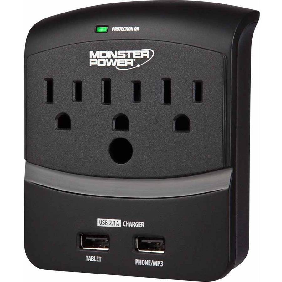Monster Core Power 3-Outlet Wall Tap with USB Charging