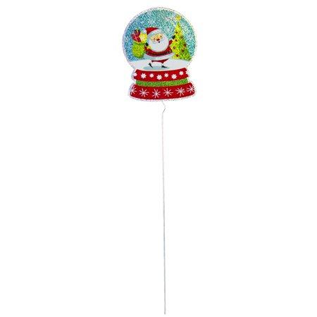 HOLIDAY TIME SNOWGLOBE SANTA HOLOGRAPHIC PATHMARKER, 24 INCH
