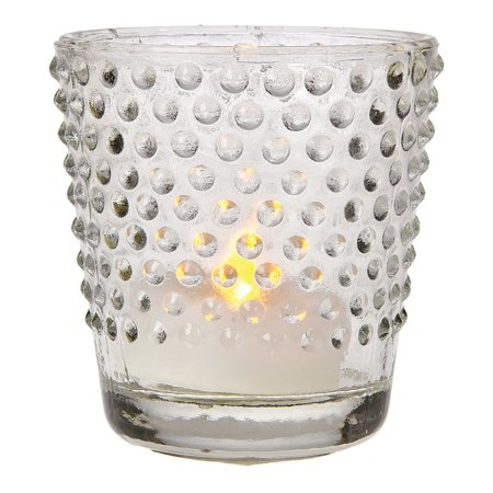 Glass Candle Holder (2.5-Inch, Candace Design, Hobnail Motif, Clear) - For Use with Tea Lights - For Home Decor, Parties, and Wedding Decorations for $<!---->